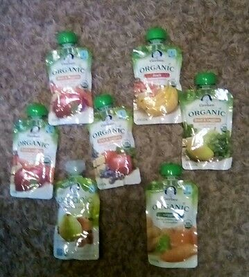 Seven Pouches of Gerber Organic 2nd Food Pouches