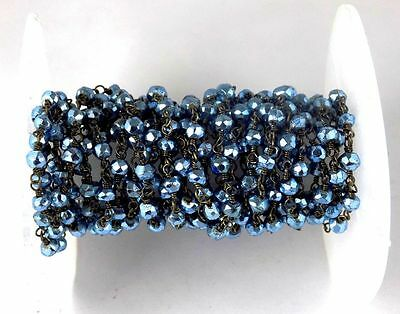 10 Feet Blue Topaz Pyrite Rosary Faceted Beaded Chain Black Wire 3.5-4mm Beads