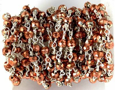 10 Feet Copper Pyrite Rosary Faceted Beaded Chain 925 Silver Plated 3.5-4mm Bead