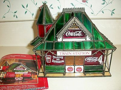 """Franklin Mint Stained Glass Coca Cola """"Train Station"""""""