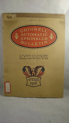 1918 Grinnel Automatic Sprinkler Bulletin Fire Extinquisher Ephemera