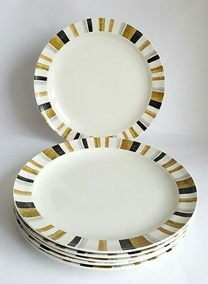 Vintage Midwinter Queensberry Stripe Dinner Plate x 6