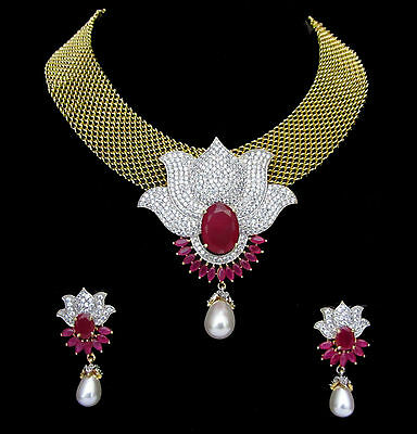 Indian CZ AD Gold & Silver Bollywood Lotus Necklace Ethnic Swam Jewelry 123