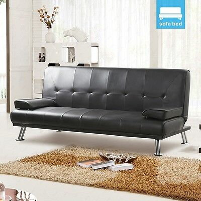 Luxury Design Convertible Sofa Bed Black Faux Leather of 3 Seaters