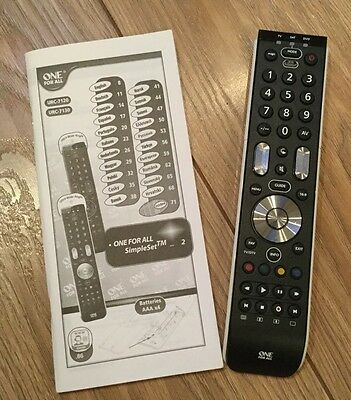One For All. Remote Control. Black. Instructions. Urc-7120 Urc 7130