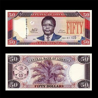2009 West Africa Liberia --  $50 Dollar 50  = Great Note =