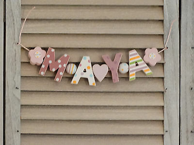 """maya"" Wooden Wall Letters Door Name Baby Shower Gift Nursery Decor Shabby Chic"