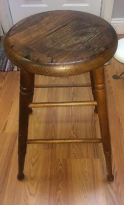 Vintage Antique Gorgeous Wood Stool Farmhouse Country Primitive Stool 24""