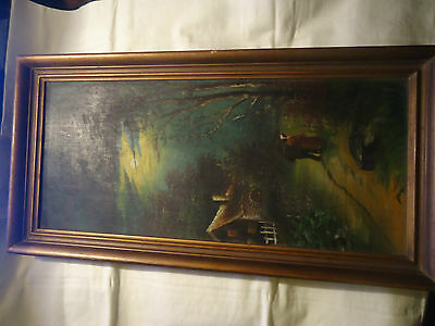 Antique 19th.c Oil Painting on Canvas of a Cottage Landscape FRAMED