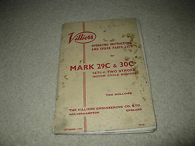 Villiers Motorcycle Spare Parts List Manual & Operating Instructions Mark 29C 30