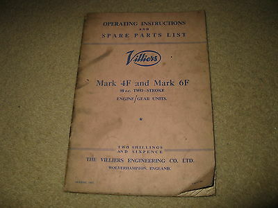Villiers Motorcycle Spare Parts List Manual & Operating Instructions Mk 4F 6F