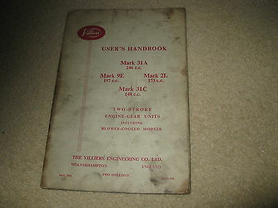 Villiers Motorcycle Users Operating Instructions Handbook Manual - Mk 31AC 9E 2L