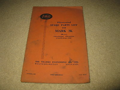 Villiers Motorcycle Spare Parts List Manual Mk 3K