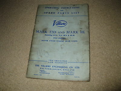 Villiers Motorcycle Spare Parts List Manual & Operating Instructions Mk 12D 8E