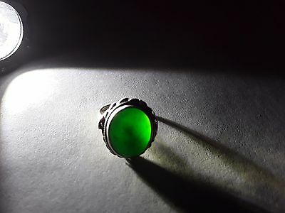 """Antique Chinese Silver and """"A"""" Jade Ring"""