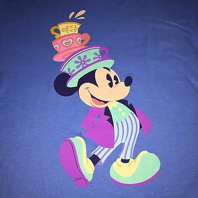 Disney Parks Mickey Mouse Mad Hatter Tea Cups T Shirt Adult XL New Blue