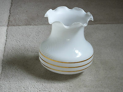 GLASS LAMP SHADE white and gold