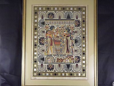 Large And Lovely Hand Painted Papyrus By Khedr Egiptian Scene !!!