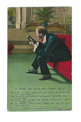 Vintage Unused Bamforth Postcard Song Card - If Those Lips Could Only Speak (3)