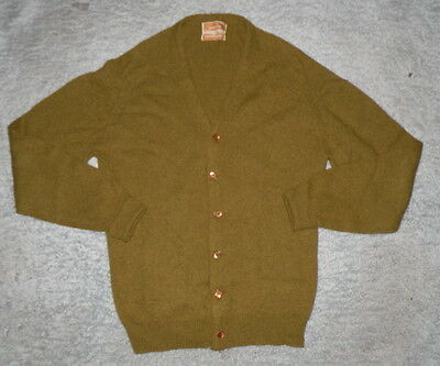 VTG 50s 60s Mens Wool Jantzen Tumblespun Green Cardigan Sweater Shirt L Cobain