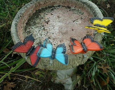 RARE Vintage Lot of 4 Ceramic Butterfly Clip-On Bird Bath Ornaments