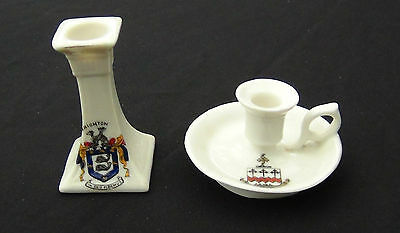 Crested China Candle Holders - Brighton & Southport