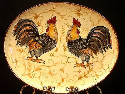 Dario Farrucci Large Hand Painted Platter Sonoma Roosters