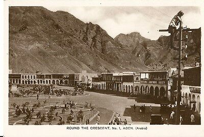Aden Round The Crescent No 1 Arabia Man On Telegraph Post C1950 M Howard Rppc