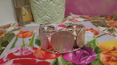 Silver plated Coins Bracelet French Old- centimes coins- Daniel Dupuis