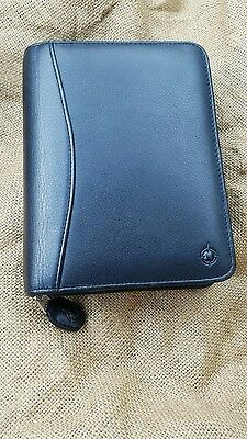 FRANKLIN COVEY Black Leather Pocket Sized Zip Planner Binder with PDA Clamp