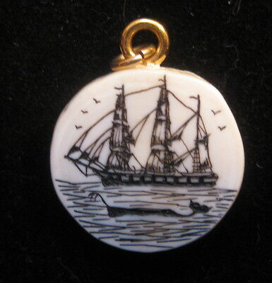 Vintage Whaling Ship Scrimshaw Pendant New Bedford Antique Ship Whale in Foregro