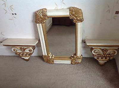Gold And Cream Wall Hanging Mirror And Shelves