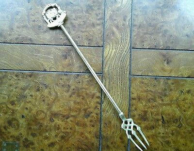 Vintage brass toasting fork - middlecomb - fireside accessory