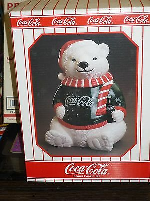 Coca Cola Cookie Jar 1995 Limited Edition Polar Bear, Green Shirt, NEW IN BOX