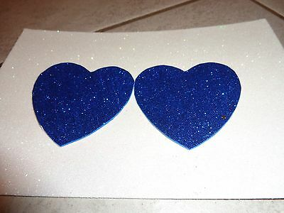 Nipple Covers/ Pasties Glitter Hearts Blue