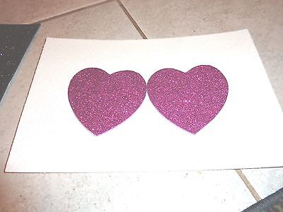 Womens Pasties/ Nipple Covers Water Resistant Purple Glitter Hearts