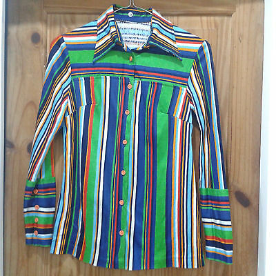 Very cool multicoloured striped 70s vintage shirt