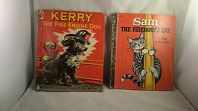 2 Vintage Children's Books Kerry the Fire Engine Dog & Sam the Firehouse Cat