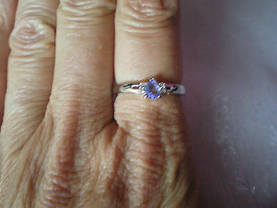 Tanzanite & Diamond ring, 0.29 carats, size R/S, in 2.1 grams of 925 Sterling Si