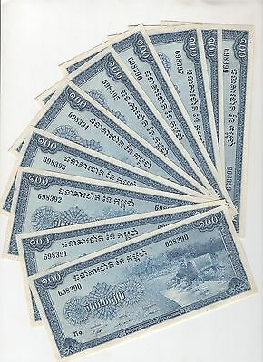 C86 Cambodia 100 Riels P-13 1962-1963 Consecutive 10 Banknotes Currency Money