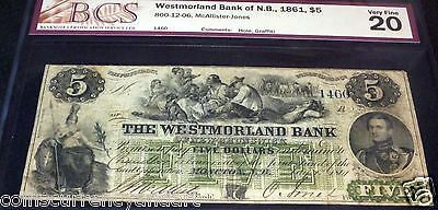 1861 Westmorland Bank of New Brunswick $5. BCS VF 20