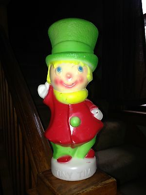 Vintage Tiny Tim Blow Mold Red And Green Christmas