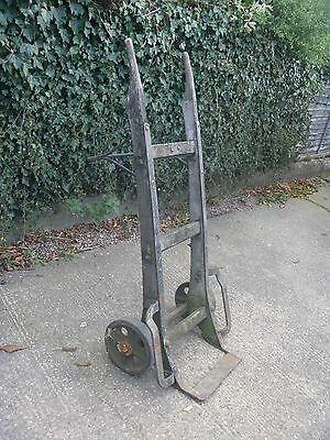 """Large Vintage Wooden Sack Truck 55"""" High X 26""""wide With 9"""" Cast Wheels"""