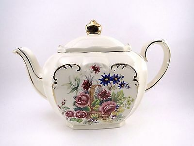 "Sadler BASKET OF FLOWERS Teapot 4.5"" Tall Cube Shape Fine Bone China England"