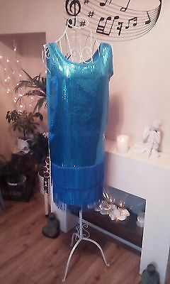 Blue Sequin Charlston Dress Roaring 20's Style Size S in Turquoise
