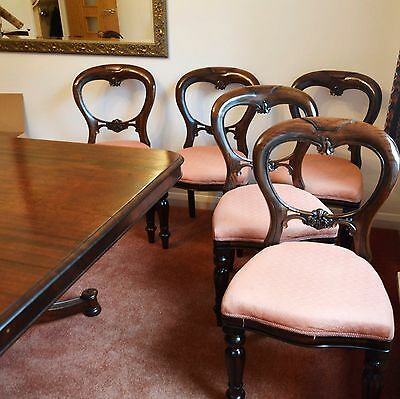 Mahogany Victorian Style Dining Chairs Balloon Back Set Of 8