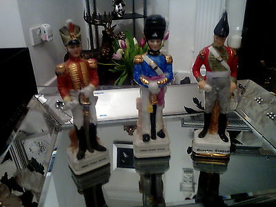 set of three collectable ceramic pottery  french soldier figures