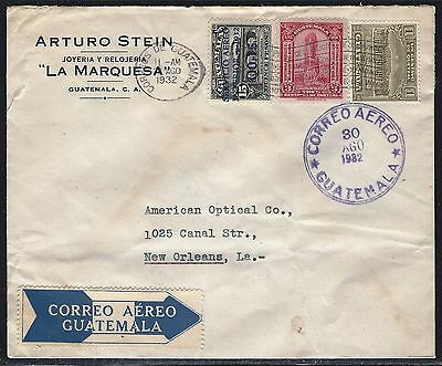 GUATEMALA 1932 AIRMAIL COVER WITH C24 15c ON 15p SURCHARGE