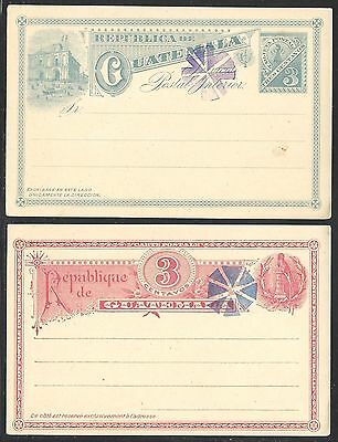 GUATEMALA 2 1890's POSTAL CARDS WITH OBLITERATORS