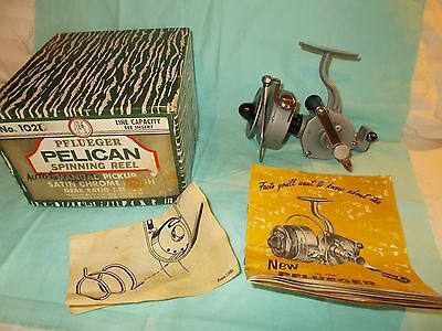 Vintage Pflueger Pelican No. 1021 Spinning Reel with Original Box and Papers